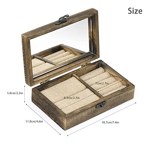 SRIWATANA Ring Box Holder, Rustic Decorative Jewelry Box Organizer for  Multiple Rings