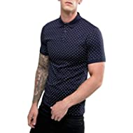 [Sponsored]COOFANDY Men's Short Sleeve Polka Dot Print Shirts Casual Cotton Polo Shirt