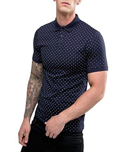 COOFANDY Men Polka Dot Short Sleeve Polo Cotton Casual Shirt, Blue, Large
