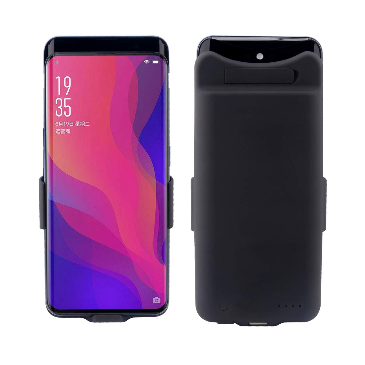 Compatible Oppo find X Battery Case- Phone Case Slim Protective Portable Rechargeable Charging Case Compatible with Oppo find X Bank Power Juice -Black