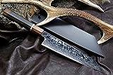 Yoshihiro Hayate ZDP-189 Super High Carbon Stainless Steel Suminagashi Kiritsuke Knife 10.5 IN Ebony wood Handle with Sterling Silver ring Nuri Saya Cover