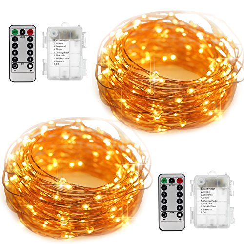 [2 Set Fairy String Lights Battery Operated Waterproof YIHONG 8 Modes 50 LED String Lights 16.4FT Copper Wire Firefly Lights Remote Control (Warm] (Firefly Kids Costumes)