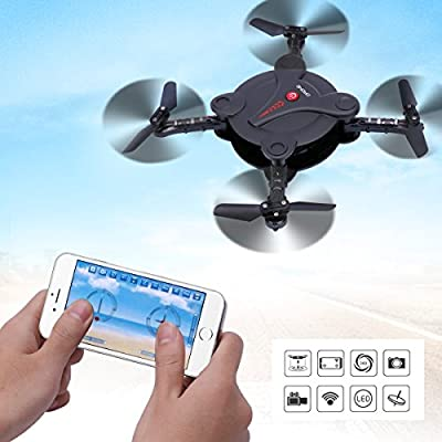 Dwi Dowellin RC Foldable Drone with FPV Camera Live Video Wifi App and Wifi Phone Control UAV Quadcopter Altitude Hold 3D Flips Rolls RTF Helicopter X18-30W Black from Dwi Dowellin