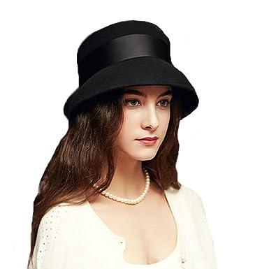 c501d637ede 100% Wool Wide Brim Bowler Fedora Hats Women Elegant Bowknot Felt Cloche  Hats Black at Amazon Women s Clothing store