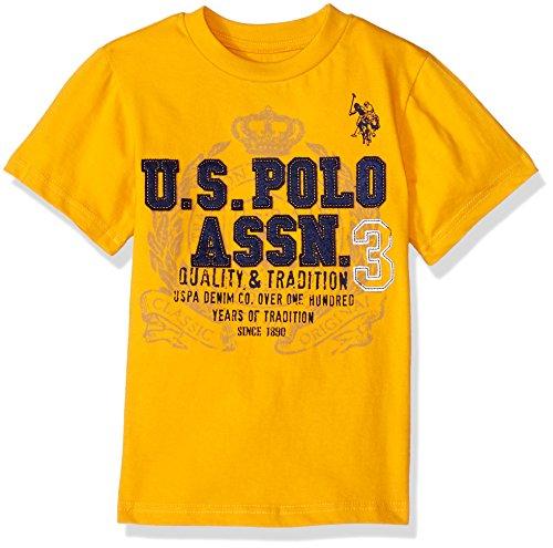 U.S. Polo Assn. Boys' Little Short Sleeve Fancy Crew Neck T-Shirt, Quality Tradition Printed Golden Corn, 5/6