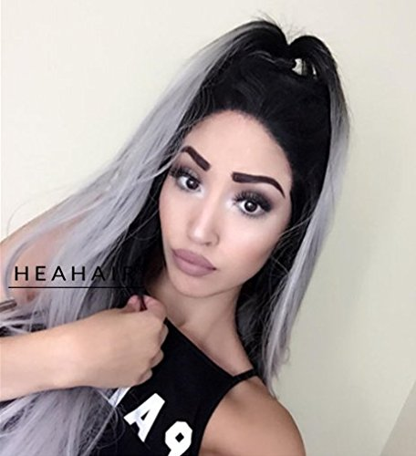 [Heahair Ombre Gray 2 Tones Synthetic Lace Front Wig Dark Roots Long Straight Silver Grey for Women Heat Resistant] (Indian Mens Braid Adult Wig)