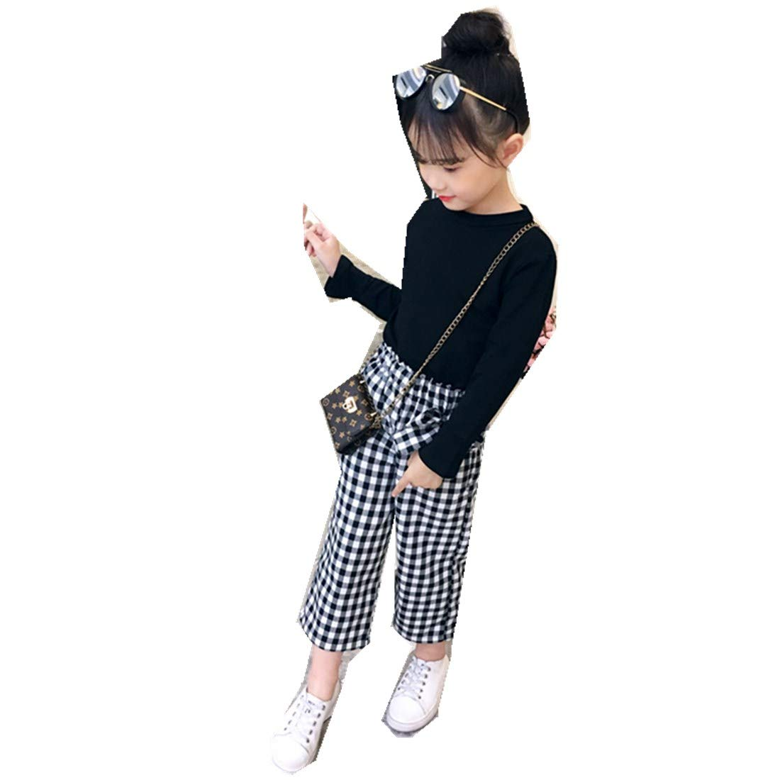Plaid Pants Two-Piece Childrens Suits Childrens Trumpet Sleeves T-Shirt