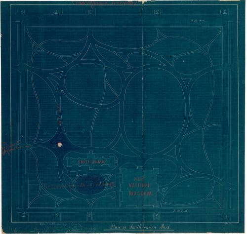 1882 Map Plan of Smithsonian Park : part of the Mall, Washington D.C. - Size: 24x24 - Ready to - Shopping Best Malls Dc In