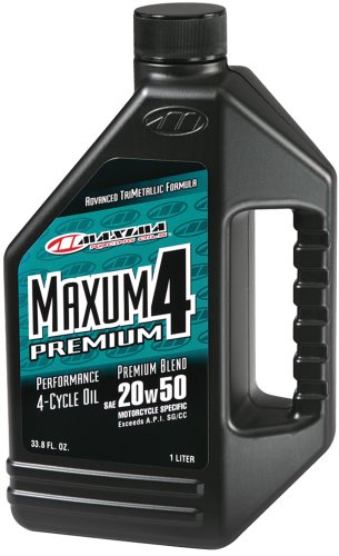 Maxima Maxum4 Synthetic Blend Oil (Maxima 35901 Premium4 20W-50 Motorcycle Engine Oil - 1 Liter Bottle)