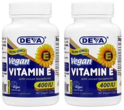 Deva Vegan Vitamins Natural Vitamin E 400iu with Mixed Tocopherols, 90-Count (2 Pack)