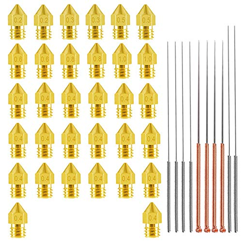 3D Printer Nozzle with Cleaning Needles Kit, 20pcs 0.4mm + 2pcs x (0.2 0.3 0.5 0.6 0.8 1.0mm) Brass MK8 Extruder Head Hotend Nozzle 1.75mm Filament with for Creality Cr-10