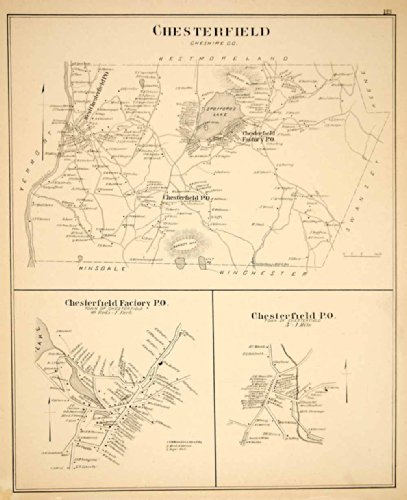 1892 Lithograph Map Chesterfield Town Cheshire County New Hampshire New England - Original Lithographed - Chesterfield Town