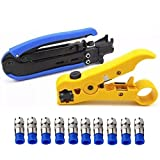 Coaxial Compression Tool Coax Cable Crimper Kit Adjustable RG6 RG59 RG11 75-5 75-7 Coaxial Cable Stripper with 10 PCS F Compression Connectors - Blue