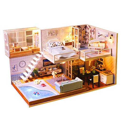Gbell  House of Seven Gables Puzzle,3D Wooden Dollhouse DIY Handmade Miniature Playhouse Furniture Accessories LED Light Cottage Uptown Castle Townhome Models Artwork Toy for Kids