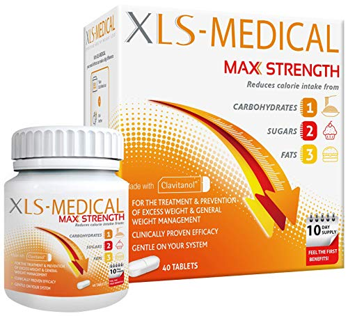 XLS-Medical Max Strength Tablets – Reduce Calorie Intake from Carbohydrates, Sugars and Fats – 40 Tablets, 10 Days…