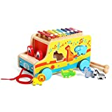 Joyin Toy Wooden Push Pull Along Toy Shape Sorter Multifunctional Bus with 6 Cute Animals and Xylophone