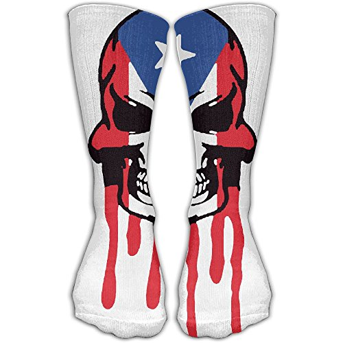 Dripping Puerto Rico Skull Flag Unisex Hipster Footed Leg Stocking Socks