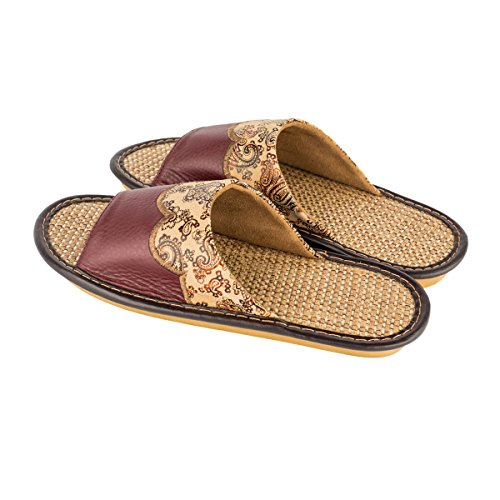 Haisum Tb003-m - Zapatillas de estar por casa de Piel Sintética para hombre marrón