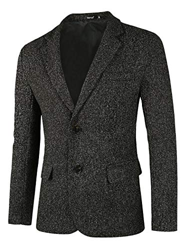 - TATT 21 Men Classic Blazer Casual Tailored Fit Notch Lapel Two Button Sport Coat Black White Melange L