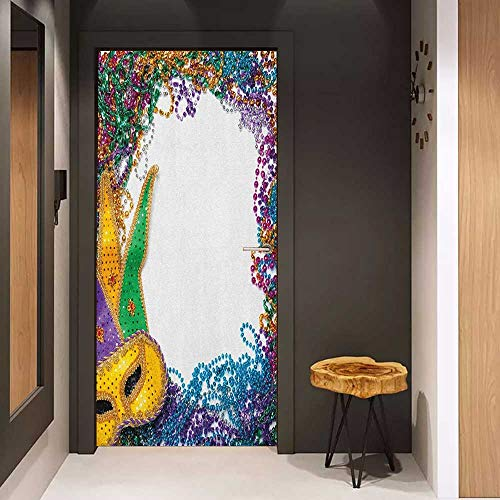 Onefzc Door Wall Sticker Mardi Gras Colorful Framework Design with Vibrant Beads and Mask Fat Tuesday Holiday Theme Mural Wallpaper W32 x H80 Multicolor