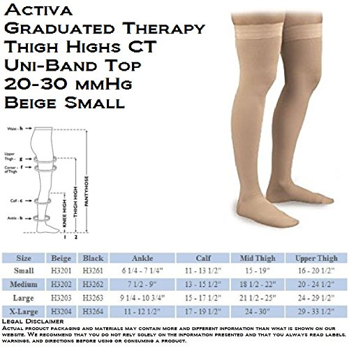 (Activa Graduated Therapy Unisex Thigh Highs w/ Uni-Band Top 20-30 mmHg Small Beige - H3201 )
