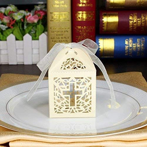 50pcs Ivory Cross Paper Gift Box Christening Baby Shower Bomboniere with Ribbons Party Favors ()