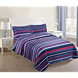 MarCielo 2 Piece Kids Bedspread Quilts Set Throw Blanket for Teens Boys Girls Bed Printed Bedding Coverlet, Full Size, Blue Striped (Full)