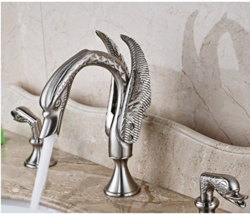 Gowe Nickel Brushed Finished Double Handles Bathroom Sink Faucet Widespread 3pcs Mixer Tap 2