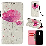 OnePlus 6 Case,Leather Wallet Folio Flip Heavy Duty Full Body Protective Phone Cover Fit Credit Card Slot Magnetic Closure Kickstand Funtion Smartphone Accessories Flower