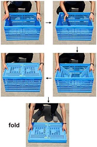 トレージクレート 折りたたみ式/スタッカブルストレージコンテナバスケット、プラスチック製ストレージクレート複数サイズブルー2個セット