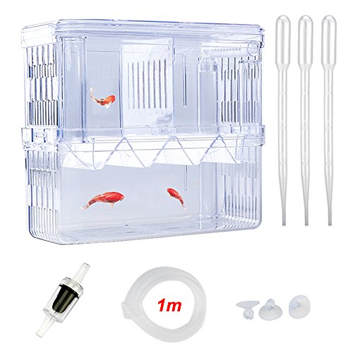 Senzeal X-Large Plastic Fish Isolation Box Multi- functional Breeding Hatchery Incubator Box with 3pcs Pasteur Pipette and Check Valve by Senzeal