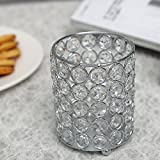 VINCIGANT Silver Cylinder Crystal Tealight Candle / Pen Holders for Christmas Home Decorations 4.7 Inches Tall
