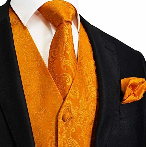 Men's 3pc Paisley Design Dress Vest Tie Handkerchief Set For Suit or Tuxedo (2XL (Chest 48), Orange)