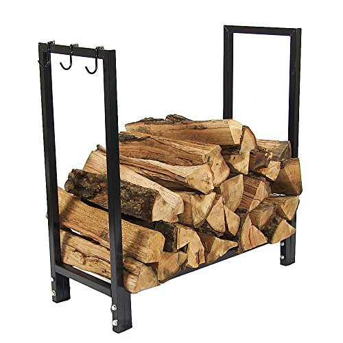 Sunnydaze Indoor/Outdoor Firewood Log Rack Holder, Fireplace Wood Storage Stand, 30 Inch, Black