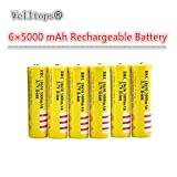 6 PCS 18650 Battery 5000mAh1 3.7V Li-ion Rechargeable Button Top Battery Yellow Low Discharge Rate No Memory Effect Battery for Flashlights