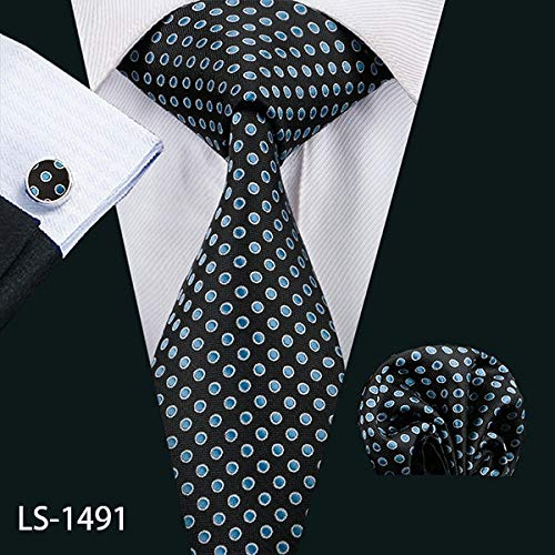- Graven LS-1199 Mens Ties Fshion Plaid 100% Silk Barry.Wang Jacquard Woven Necktie Hanky Cufflink Set Ties for Men Formal Wedding Party - (Color: LS-1491)