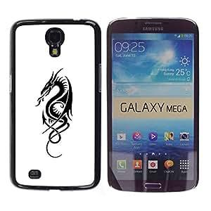 Paccase / SLIM PC / Aliminium Casa Carcasa Funda Case Cover - Black White Ink Tattoo Art Fire - Samsung Galaxy Mega 6.3 I9200 SGH-i527