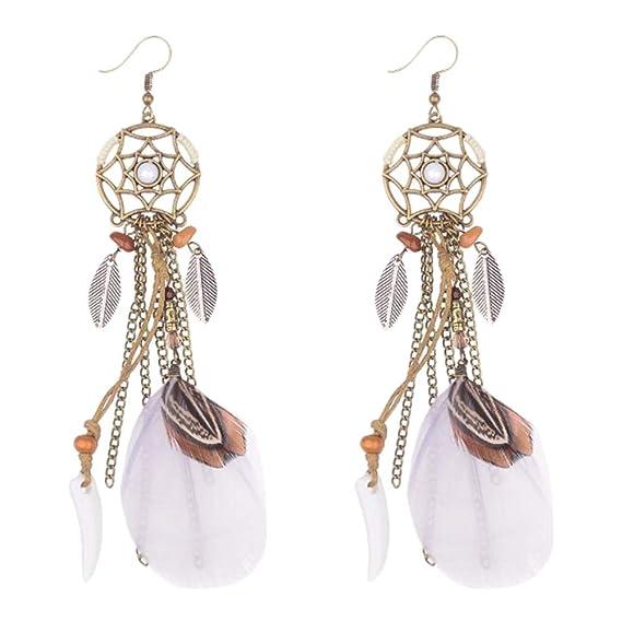 b036f96c652d Gysad Atrapasueños Pendientes Vintage Pendientes Regalo Creativo Pendientes  de mujer size 13.5CM (Blanco)