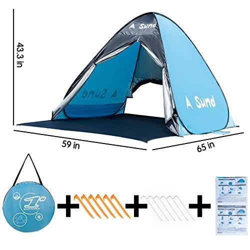Pop Up Sun Beach Tent Quick Setup Beach Shade Folding Umbrella Tent Sun shelter for girls boys parents Children by A - Shades With Girl