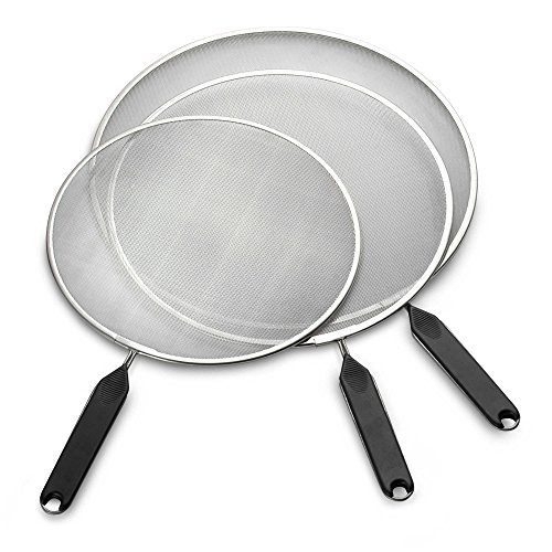 Splatter Screen For Cooking Set 3 Piece Frying Pan Stop Grease Mesh Stainless Steel