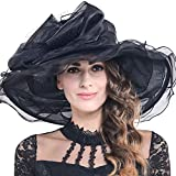 Women's Church Derby Kentucky Wide Brim Sun Hat with Flower S019 (S601-Black) - Best Reviews Guide