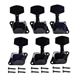 Musiclily 3+3 Guitar Semiclosed Tuners Tuning Key Pegs Machine Head Set for Fender Replacement, Black