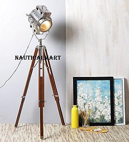 Vintage Industrial Sheesham Wood And Chrome Finish Tripod Floor Lamp ...