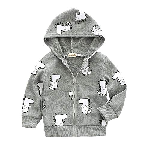 (Londony▼ Clearance Sales,Kids Baby Boy Casual Cotton Outerwear Cute Dinosaur Printed Zipper Hooded Jackets Coat)