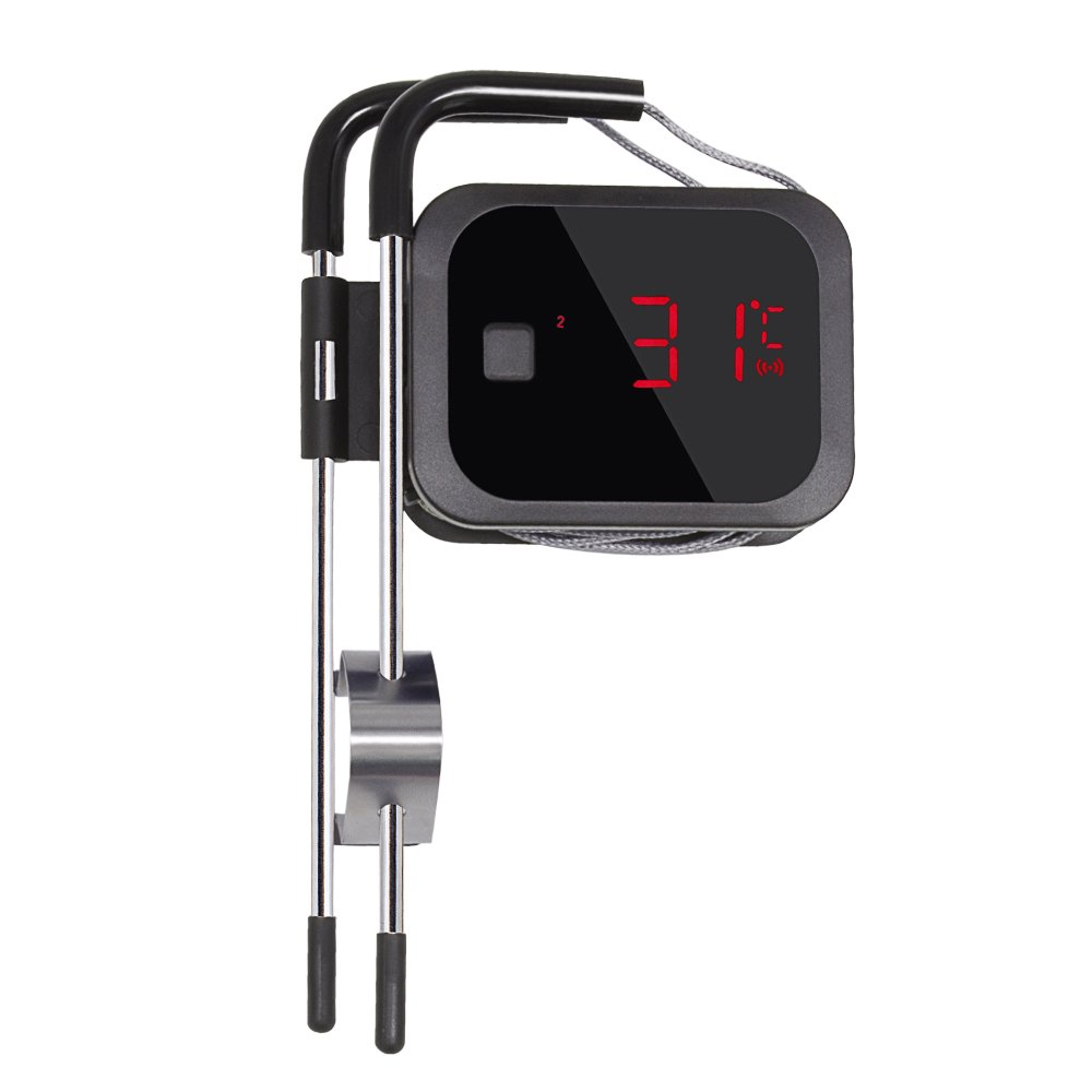 Inkbird IBT-2X Bluetooth 4.0 Termómetros Digitales de Cocina con 2 Inoxidable Sonda, Smart Temporizador Portatil con Pantalla LED + Temperatura de Alarma ...