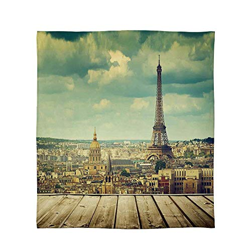 (YOLIYANA Comfort Blanket,Eiffel Tower,for Sofa Travel Couch,Size Throw/Twin/Queen/King,Paris Cityscape with Eiffel Tower View from)