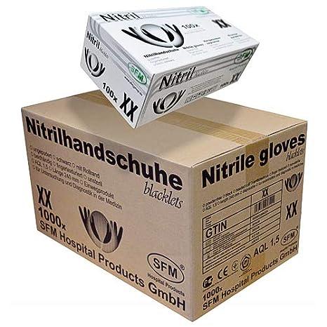 SFM ® BLACKLETS Nitril : XS, S, M, L, XL schwarz puderfrei F-tex Einweghandschuhe Einmalhandschuhe Untersuchungshandschuhe Ni