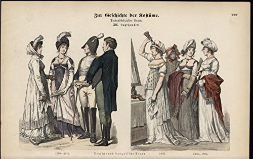Wealthy French Germans White Dresses ca 1880s antique ethnic Costume print