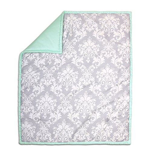 Grey Damask and Mint Green Reversible 100% Cotton Crib Quilt by The Peanut Shell by The Peanut Shell