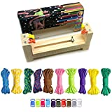 COSORO Jig Bracelet Maker Set - 10 Parachute Cords and 10 Side Release Plastic Buckles,Wristband Maker,Paracord Braiding Solid Wood Knit Weaving DIY Manual Braiding Kit